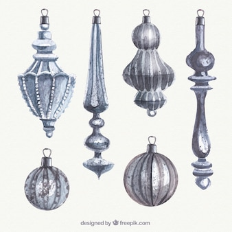 Elegant christmas baubles in hand painted style