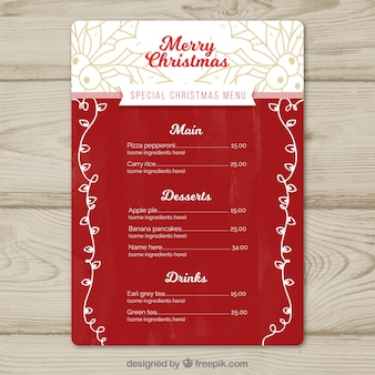 Elegant christmas menu with sketches