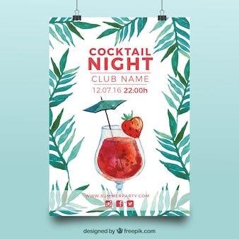 Elegant cocktail party watercolor brochure