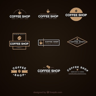 Elegant coffee shop logo collection