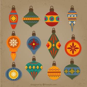 Elegant collection of vintage baubles in flat style
