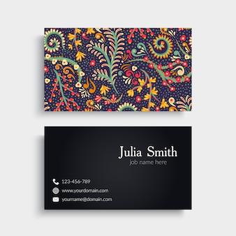 Elegant colorful floral business card