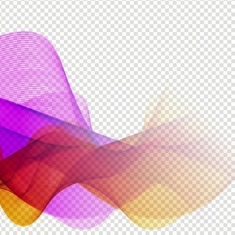Elegant colorful wave design on transparent background