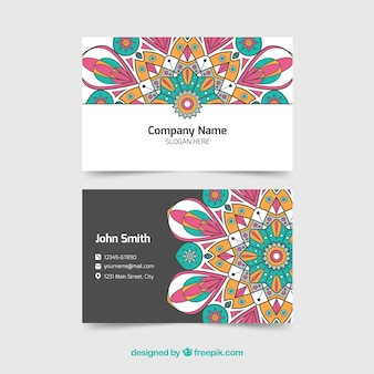 Elegant corporate card with colored mandala