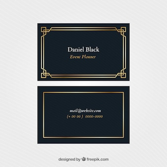 Elegant corporate card with golden frame