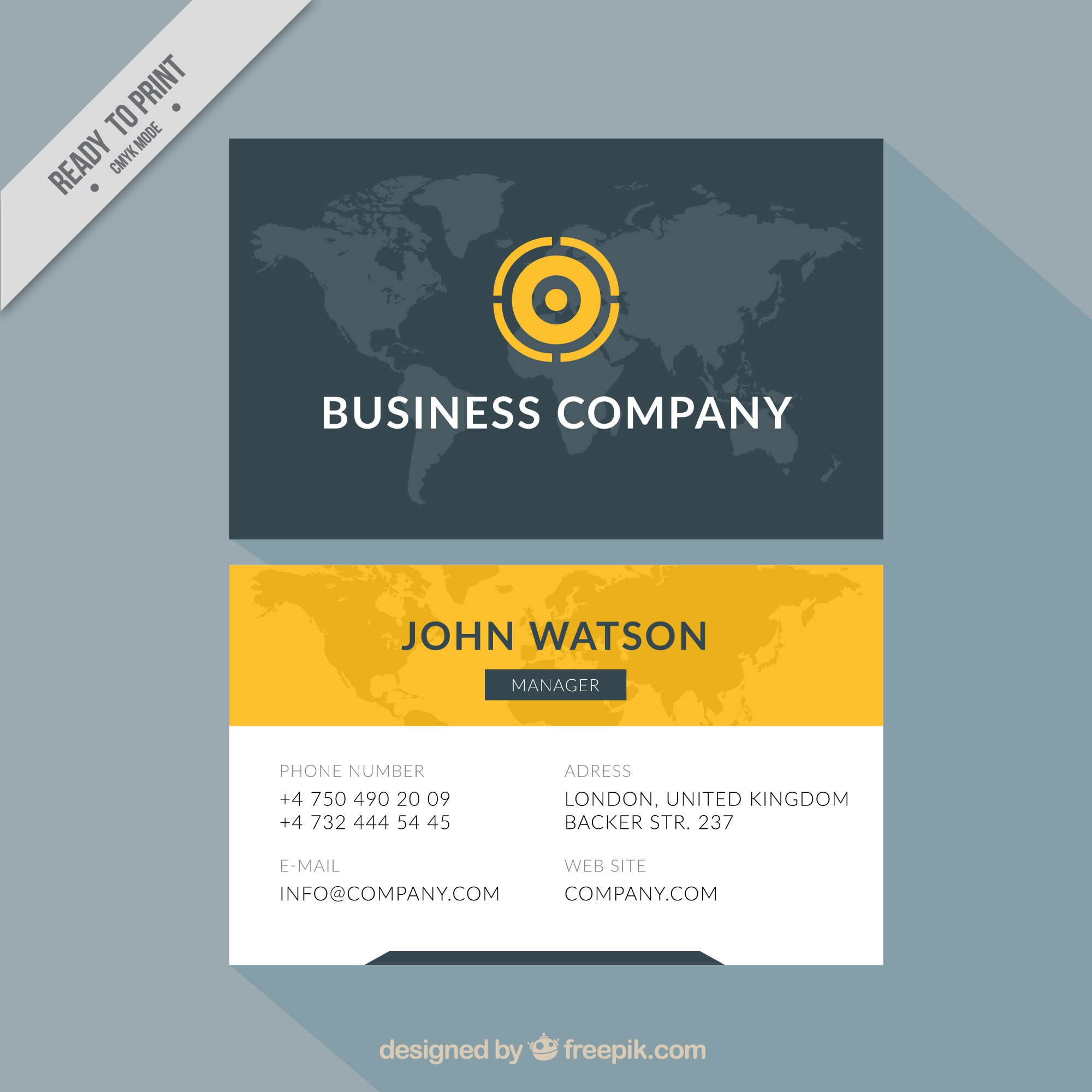 Elegant corporate card with map