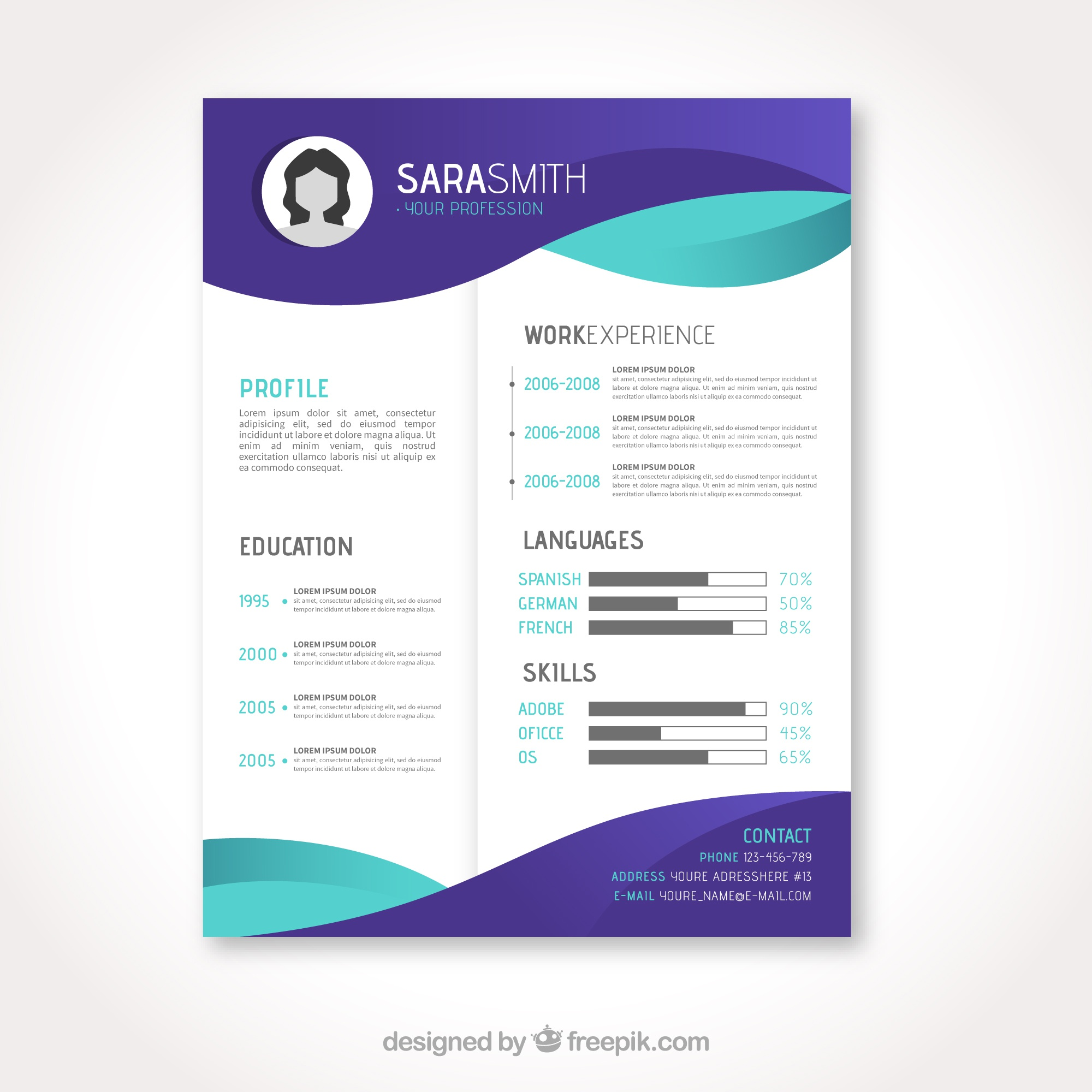 Elegant curriculum template with flat waves