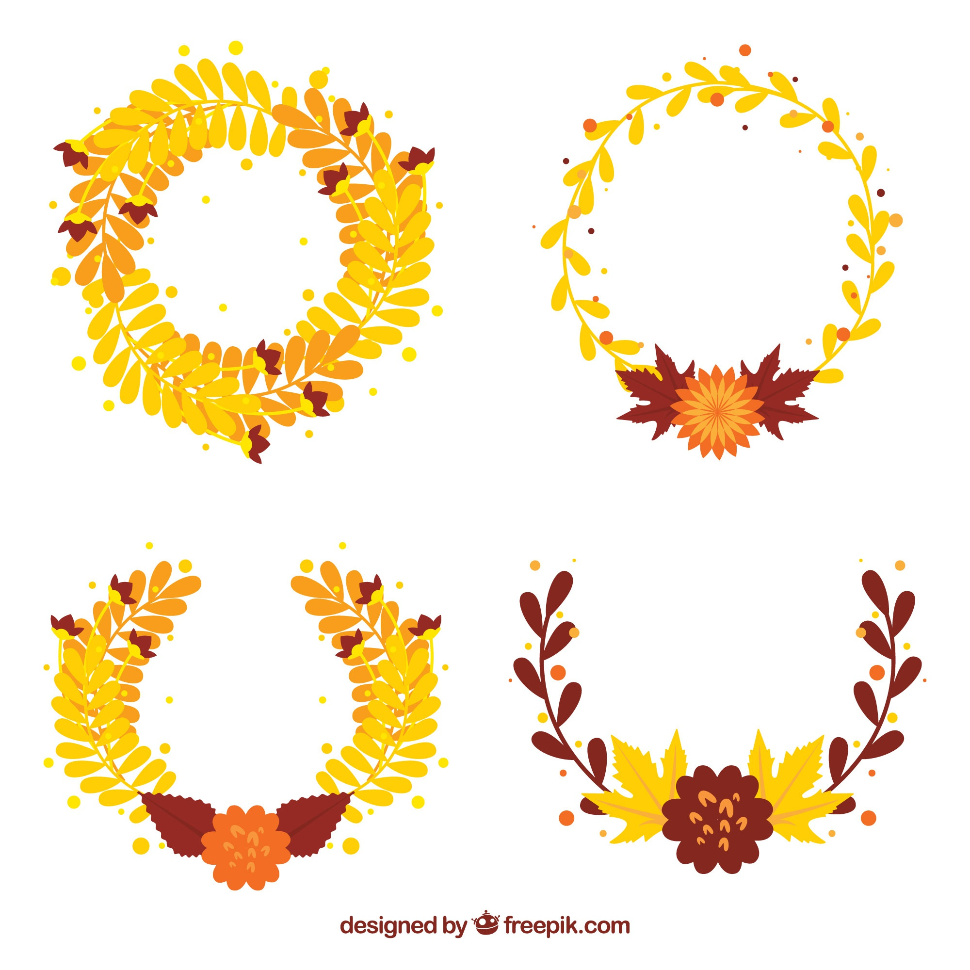 Elegant decorative autumn wreaths