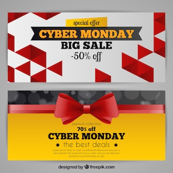 Elegant detailed cyber monday banners