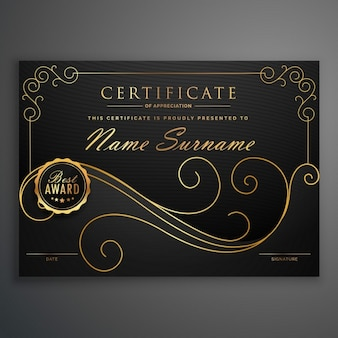 Elegant diploma with floral shapes