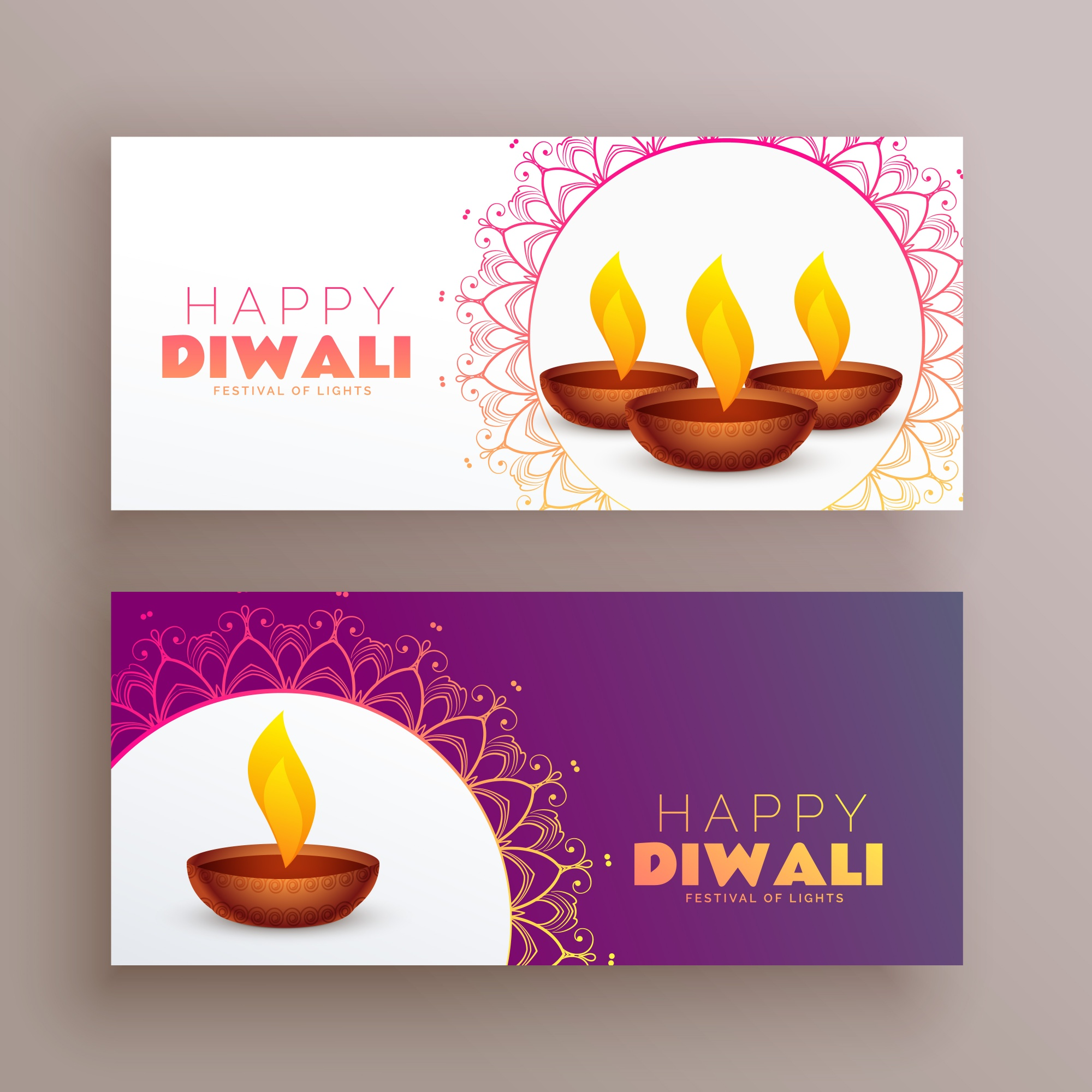 Elegant diwali festival banners greeting card set background
