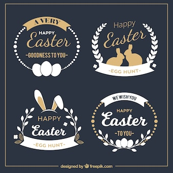 Elegant easter badge collection
