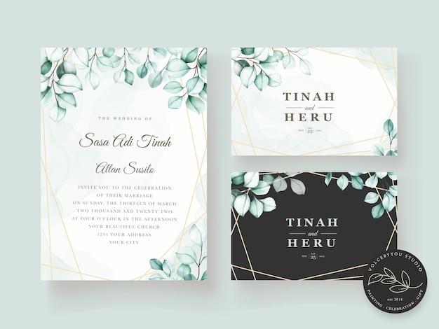 Elegant eucalyptus wedding invitation card set