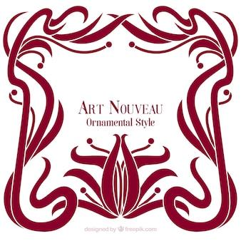 Elegant floral art nouveau frame