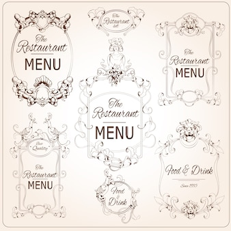 Elegant floral calligraphy retro style restaurant menu labels vector illustration