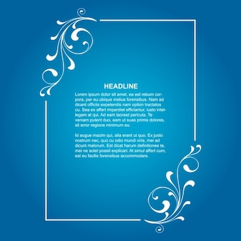 Elegant floral frame on blue background