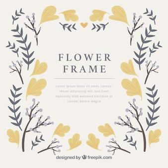 フラットデザインのエレガントな花のフレーム