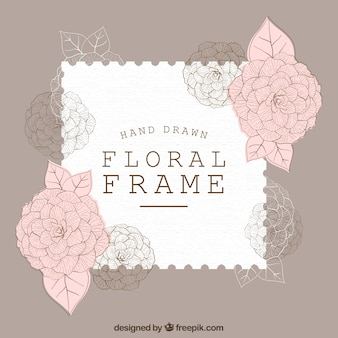 Elegant floral frame with hand drawn style
