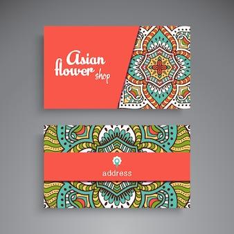Elegant floral mandala business card