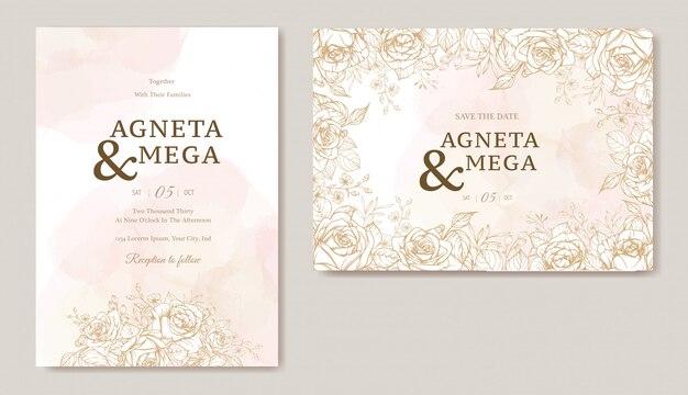 Elegant floral wedding invitation card template