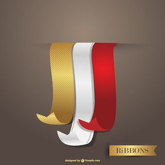 Elegant golden, red and white ribbons