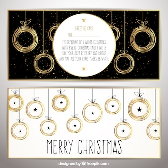 Elegant golden christmas cards
