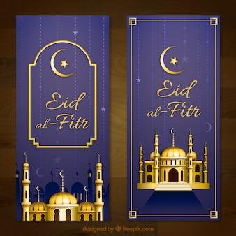 Elegant golden eid al fitr banners