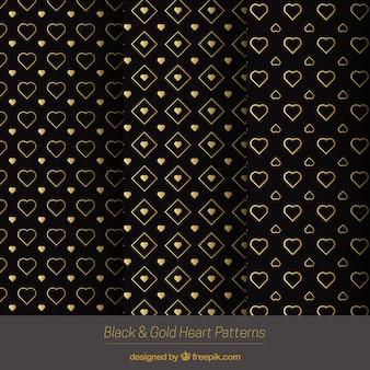 Elegant golden hearts patterns