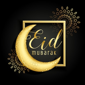Elegant golden moon background  of eid mubarak