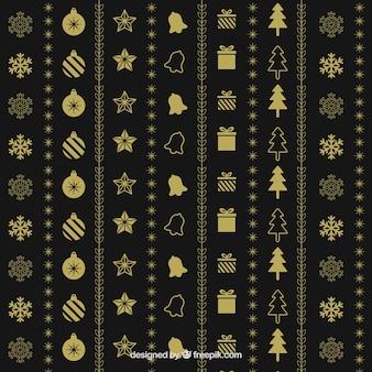 Elegant golden pattern of christmas items