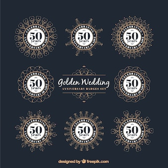 Elegant golden wedding anniversary badges