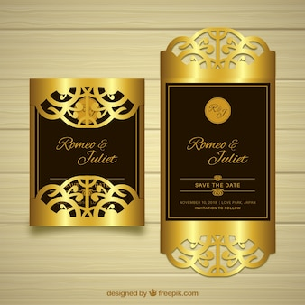 Elegant golden wedding card