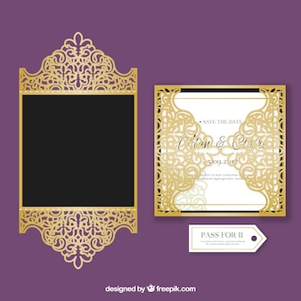 Elegant golden wedding invitation