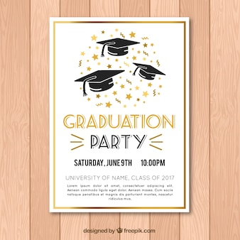 Elegant graduation party poster with golden elements
