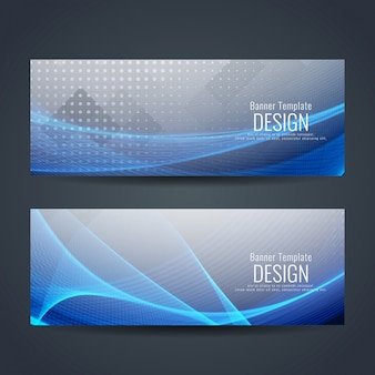Elegant grey and blue banner templates