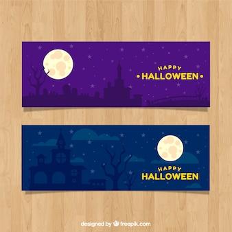 Элегантные баннеры Хэллоуина с домиком с привидениями
