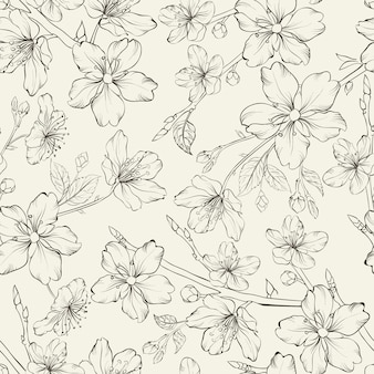 Elegant hand drawn background decorated with flowers