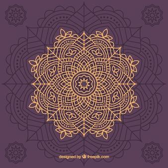 Elegant hand drawn golden mandala background
