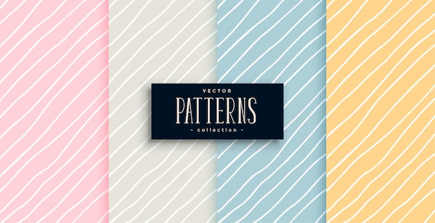 Elegant hand drawn lines patterns in four colors