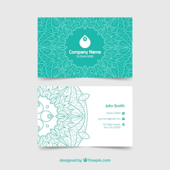 Elegant hand drawn mandala business card