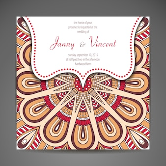 Elegant indian ornamentation on a dark background stylish design can be used as a greeting card or wedding invitation