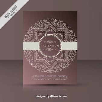 Elegant invitation with a round ornamental frame