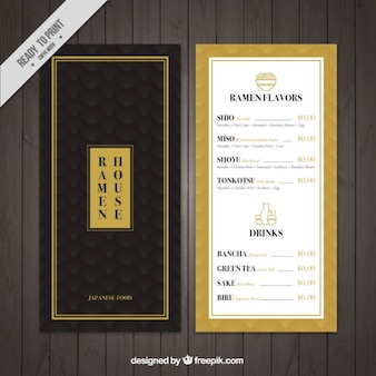 Elegant japanese food menu