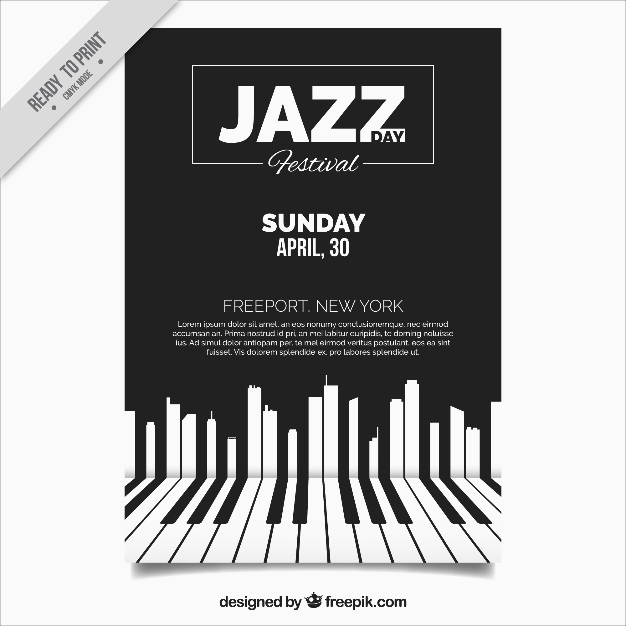 Elegant jazz brochure with piano keys