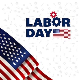Elegant labor day illustration with flag