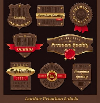 Elegant leather labels with gold accents