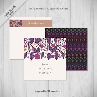 Elegant leaves wedding invitation pack