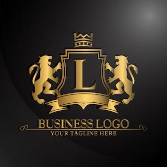 2つのライオンデザインのエレガントなロゴ