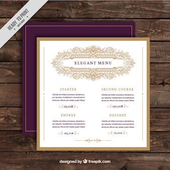 Elegant menu restaurant template
