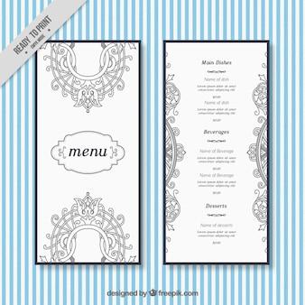 Elegant menu restaurant with ornaments